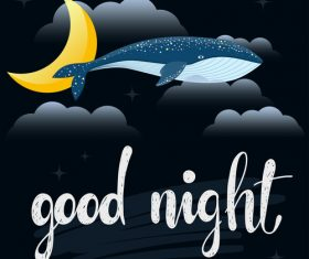 good night whale vector