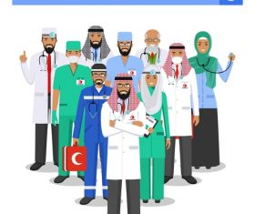 muslim medical team vector