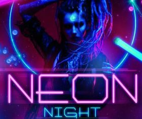 neon night party flyer psd template