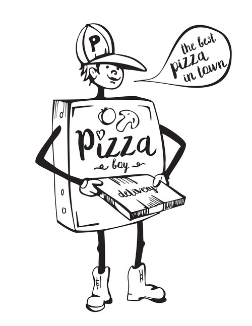 pizza boyblack vector