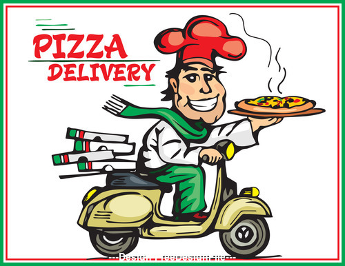 pizza delivery color vector