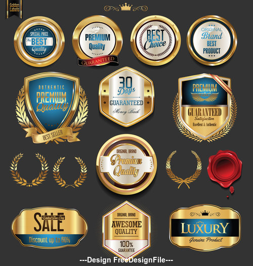 quality golden badges and labels collection vector