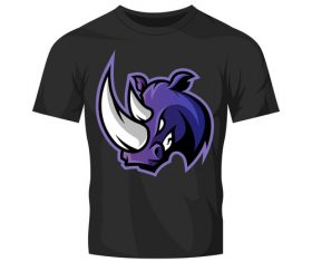 rhinos head only t-shirt black vector