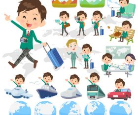 school boy Green Blazer travel vector