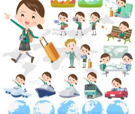 school girl Green Blazer travel vector