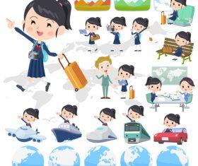 school girl Sailor suit travel vector
