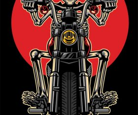skull riding motorcycle vector