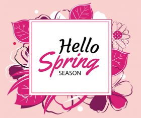 spring banner template with colorful flower vector