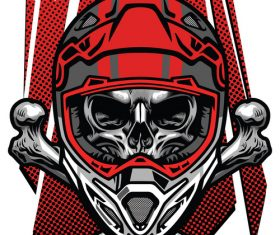 t-shirt design skull motocross rider with crossed bones vector