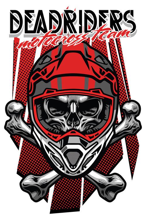 t shirt design skull motocross rider with crossed bones vector