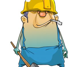 vector Cartoon man working in a helmet and with a hammer