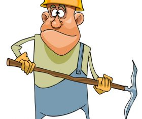 vector Cartoon man working in a helmet and with pick