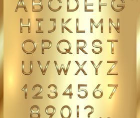 vector Gold font and numbers