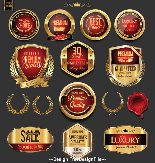 vector Golden badges and labels