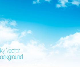 vector blue sky background with white clouds