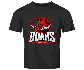 vector boars t-shirt black