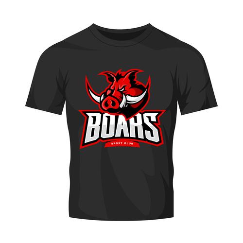 vector boars t shirt black