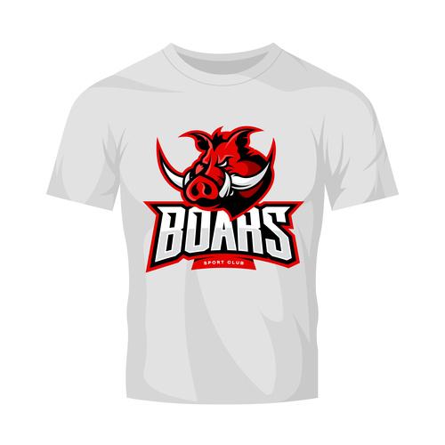vector boars t shirt white