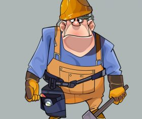 vector cartoon big man in helmet and working clothes with tools