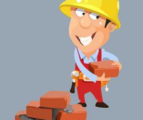vector cartoon builder worker man in a helmet with bricks