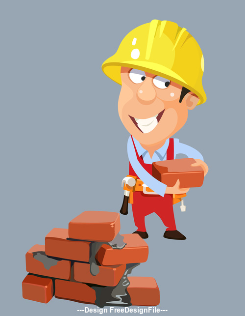 vector cartoon builder worker man in a helmet with bricks