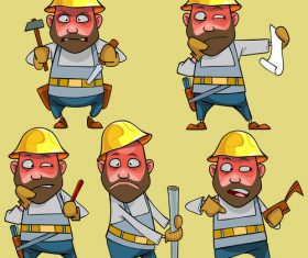 vector cartoon disgruntled worker in the helmet in various poses