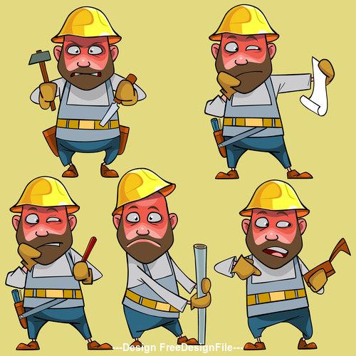 vector cartoon disgruntled worker in the helmet in various poses