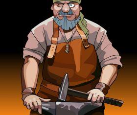 vector cartoon male blacksmith worker with hammer