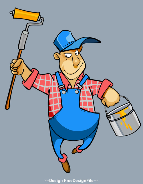 vector cartoon male house painter worker in uniform