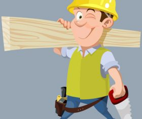 vector cartoon male worker in a helmet with a hacksaw and board
