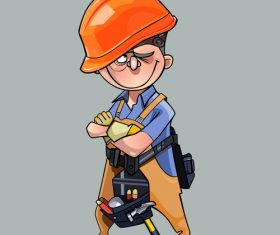 vector cartoon man in helmet and working clothes with tools standing with crossed arms