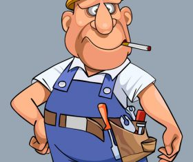 vector cartoon man in overalls with tools and helmet
