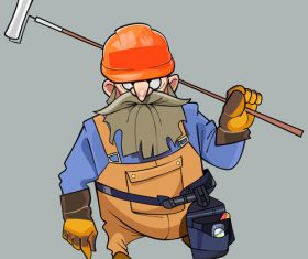 vector cartoon of a bearded man in helmet and working clothes with the tools
