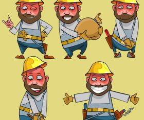 vector cartoon of smiling worker in the helmet in various poses