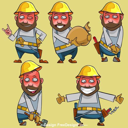 vector cartoon of smiling worker in the helmet in various poses