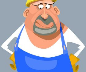 vector cartoon puzzled man in overalls and a helmet