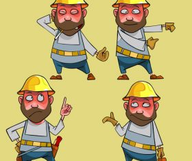 vector cartoon puzzled worker in the helmet in various poses