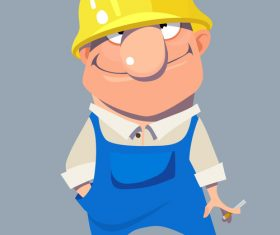 vector cartoon smiling man worker in helmet