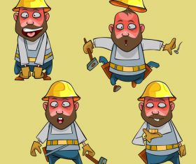 vector cartoon surprised worker in the helmet in various poses