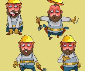 vector cartoon surprised worker in the helmet in various poses