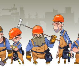 vector cartoon team of men in helmets and clothing workers-builders
