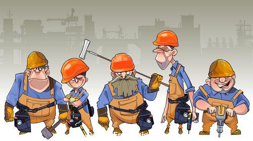 vector cartoon team of men in helmets and clothing workers builders