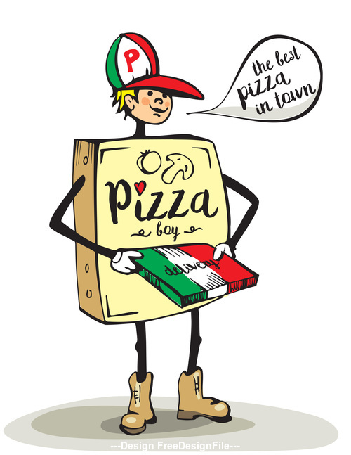 vector pizza boy