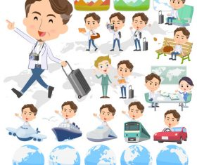wild Middle aged man travel vector