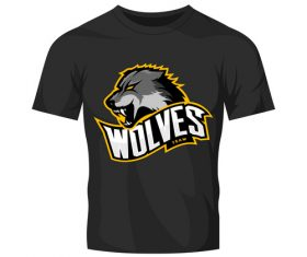 wolves t-shirt black vector
