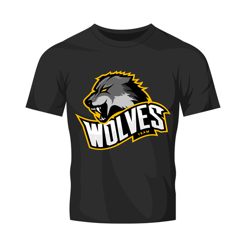 wolves t shirt black vector