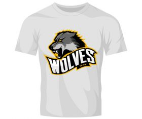 wolves t-shirt white vector