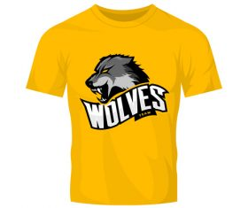 wolves t-shirt yellow vector