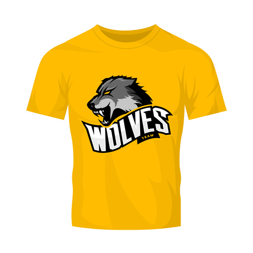 wolves t shirt yellow vector