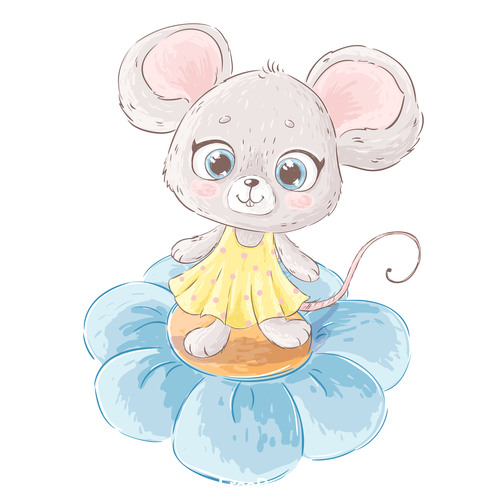 2020 New Year Cute Cartoon Mouse Vector Free Download